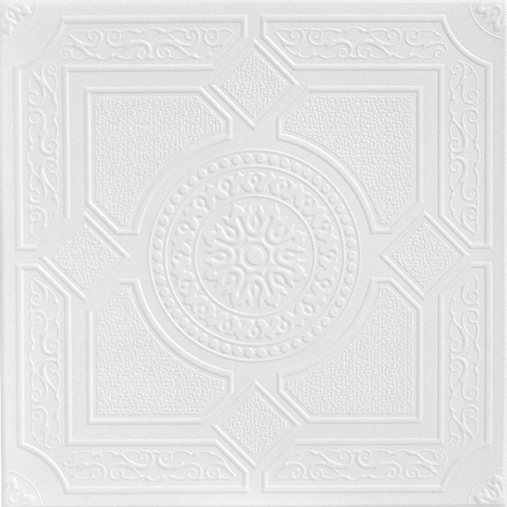 A La Maison Ceilings Kensington Garden 1.6 ft. x 1.6 ft. Glue Up Foam Ceiling Tile in Plain White (21.6 sq. ft./case)