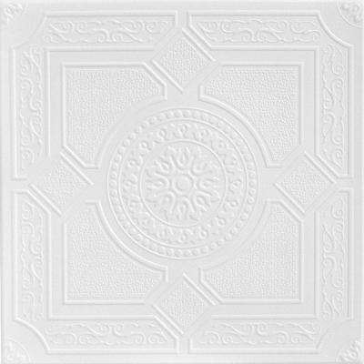 Kensington Gardens 1.6 ft. x 1.6 ft. Foam Glue-up Ceiling Tile in Plain White (21.6 sq. ft. / case)
