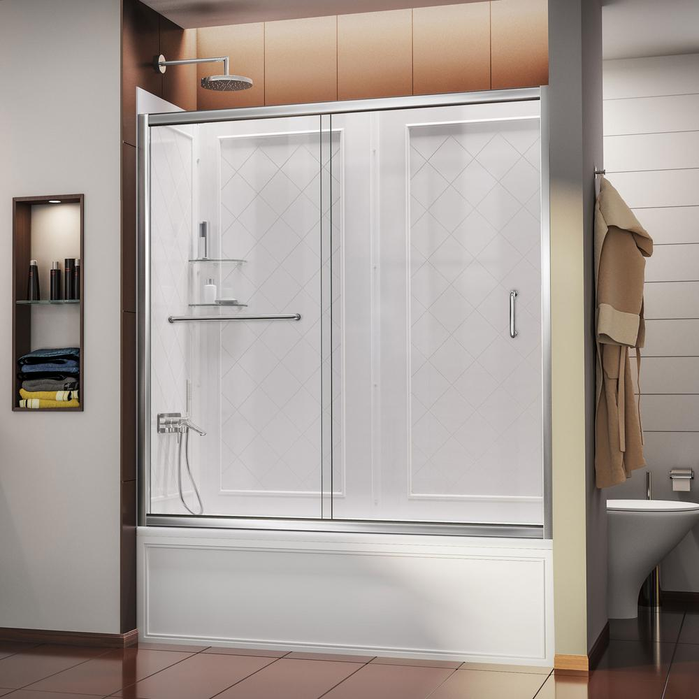 Infinity-Z 60 in. x 60 in. Semi-Frameless Sliding Tub/Shower Door in