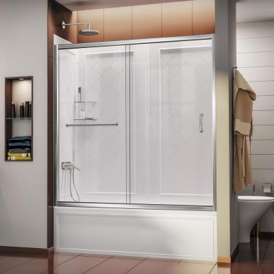 Infinity-Z 56 to 60 in. x 60 in. Semi-Frameless Sliding Tub Door in Chrome and Backwall
