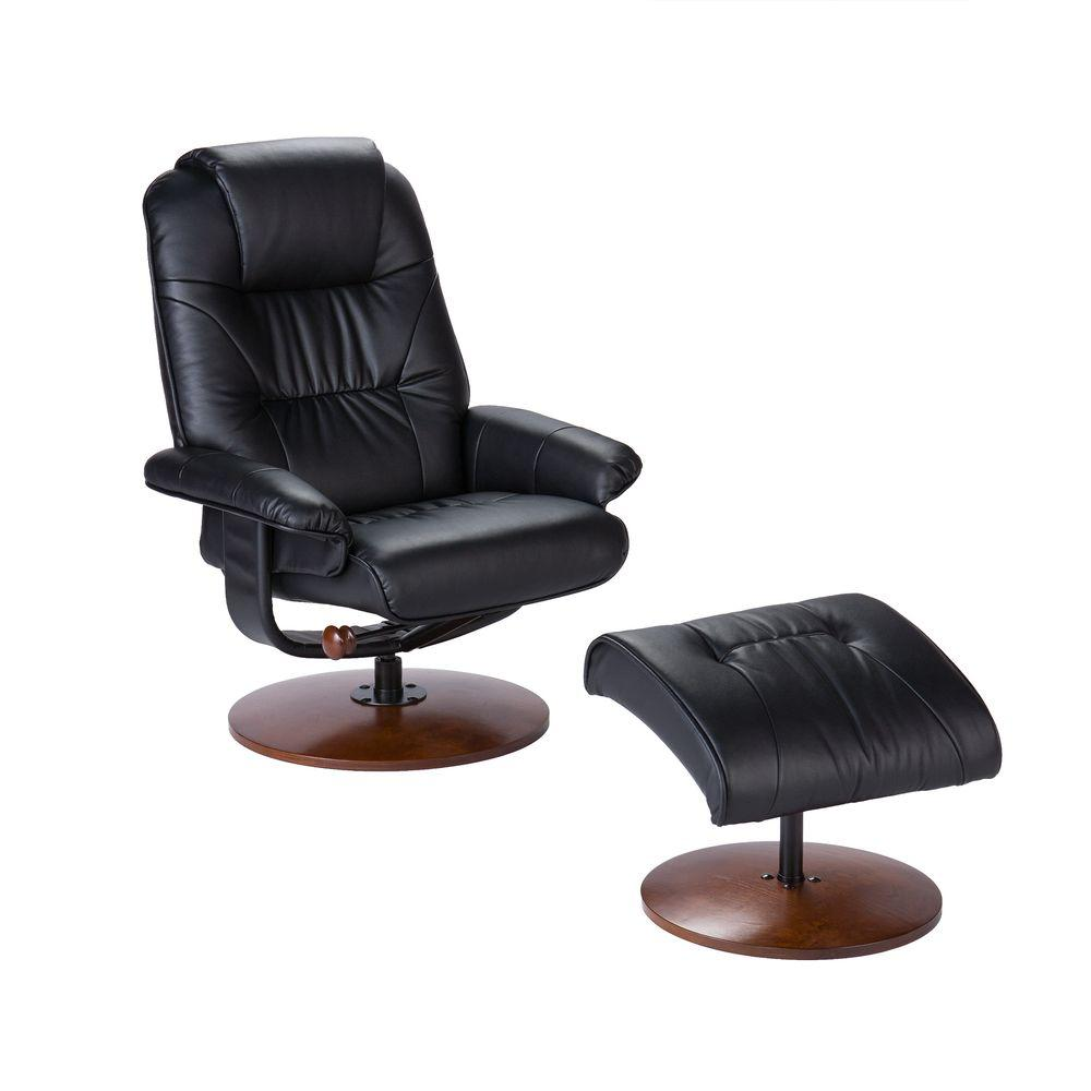 Unbranded black leather reclining chair with ottoman up4903rc the home depot