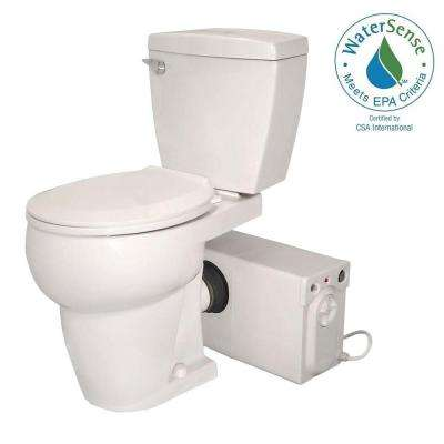 Bathroom Anywhere 2-Piece 1.28 GPF Single Flush Round Toilet with Seat Macerating Pump in White