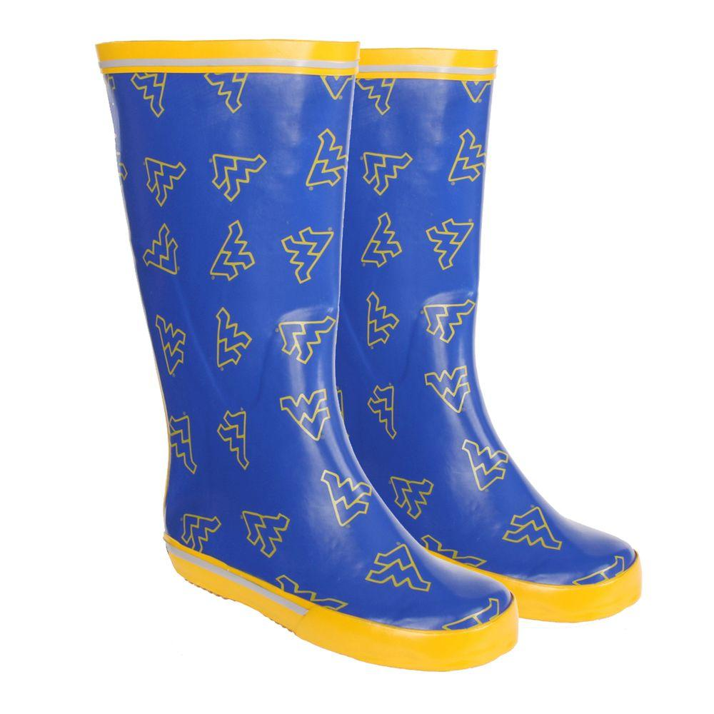 FANSHOES 12 in. Rubber NCAA West Virginia University Team Boot Size 9-DISCONTINUED