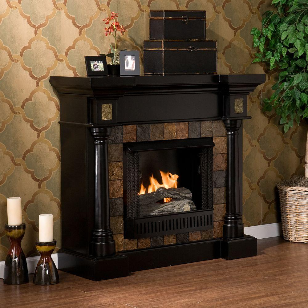 Southern Enterprises Carrington 45 in. Convertible Gel Fuel Fireplace in Black with Faux Slate