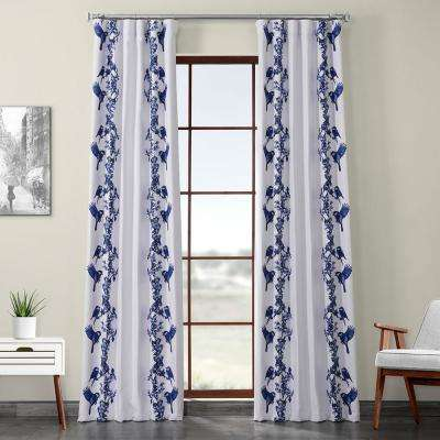 Sparrow Blue Printed Linen Textured Blackout Curtain - 50 in. W x 108 in. L (1-Panel)