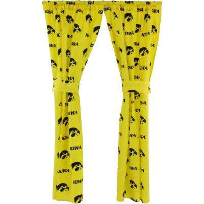 42 in. W x 63 in. L Lowa Hawkeyes Cotton With Tie Back Curtain in Yellow   (2 Panels)