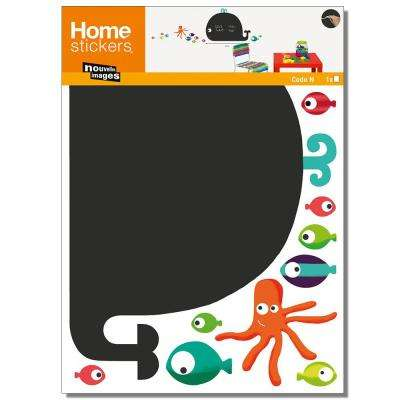 Multicolor Whale and Octopus/Chalk Board Home Sticker
