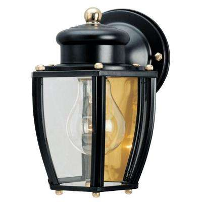 1-Light Matte Black Steel Exterior Wall Lantern with Clear Curved Glass Panels