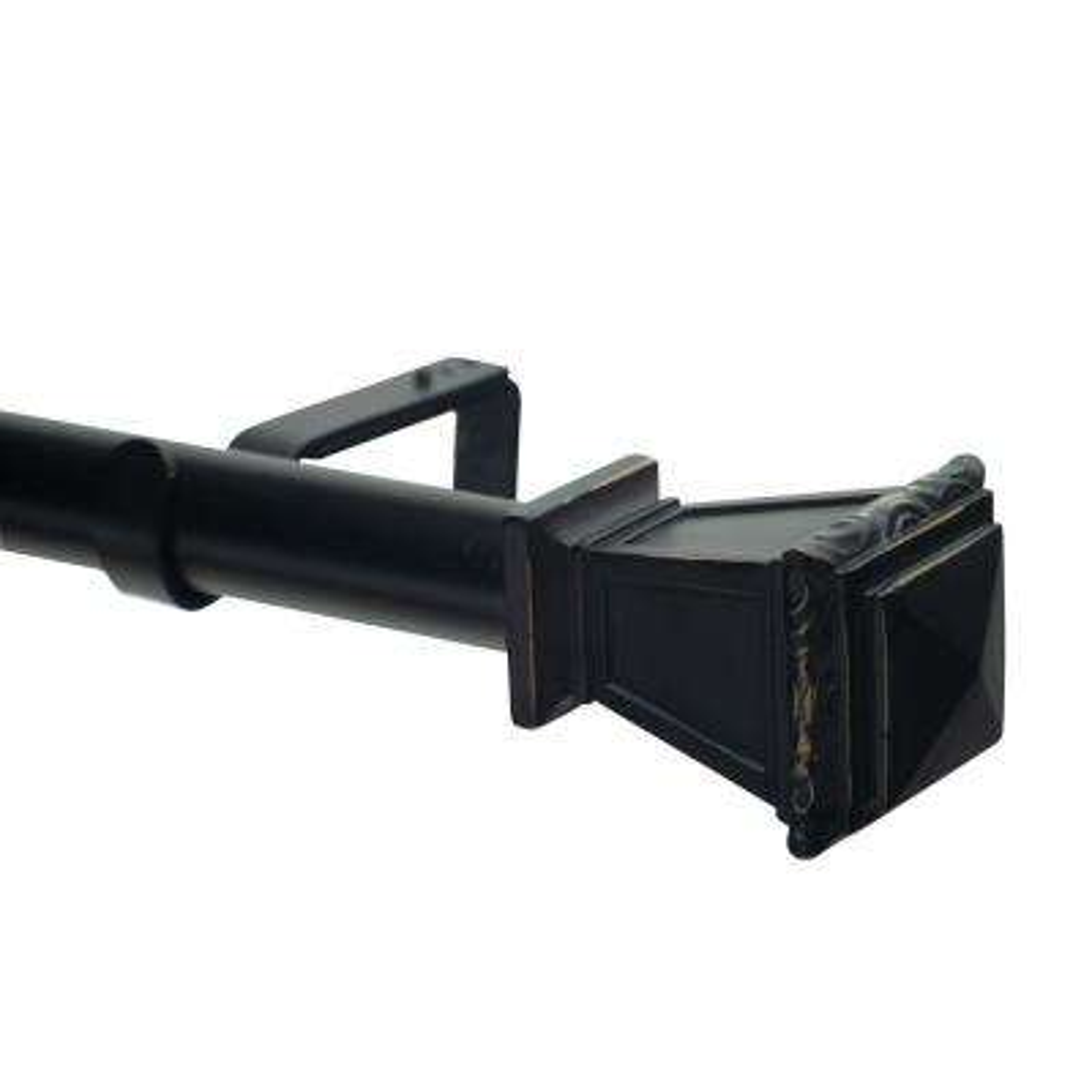 120 in. Non-Telescoping 1-1/8 in. Single Curtain Rod in Black with Nouveau Classique Finial