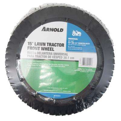15 in. Universal Lawn Tractor Front Wheel Assembly for 5/8 in. and 3/4 in. Dia Axles with Adapters Included