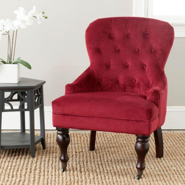Safavieh Falcon Red Velvet/Java Cotton Velvet Arm Chair MCR4544E
