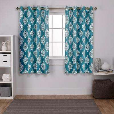 Medallion 52 in. W x 63 in. L Woven Blackout Grommet Top Curtain Panel in Teal (2 Panels)