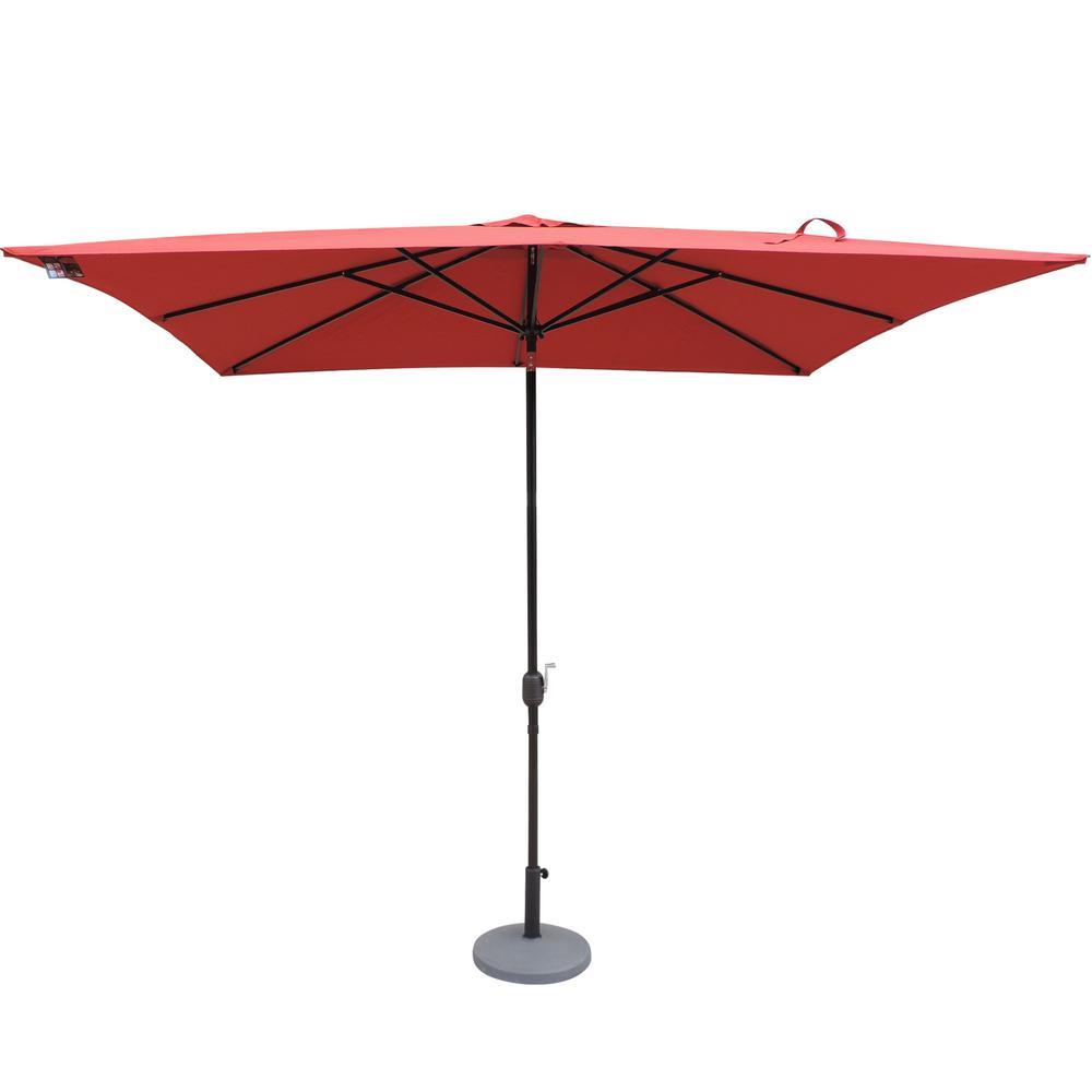 Caspian 8 ft. x 10 ft. Rectangular Market Patio Umbrella in Red Olefin