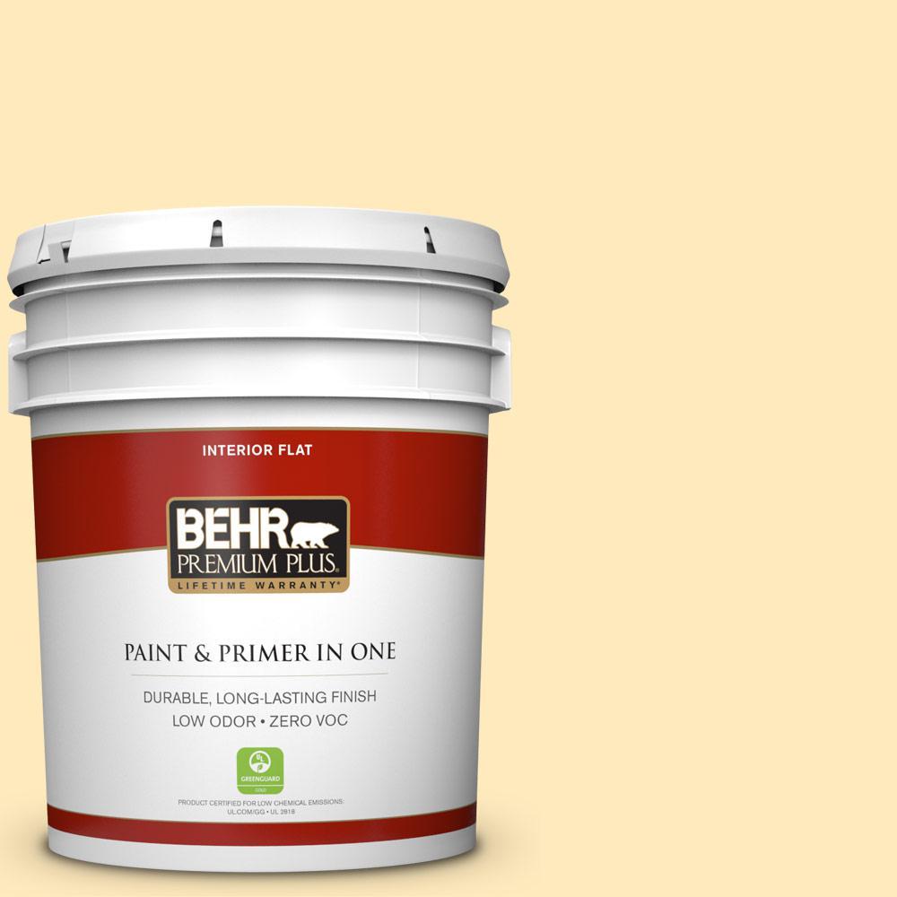 BEHR Premium Plus 5-gal. #PPL-69 Sunkissed Yellow Zero VOC Flat Interior Paint