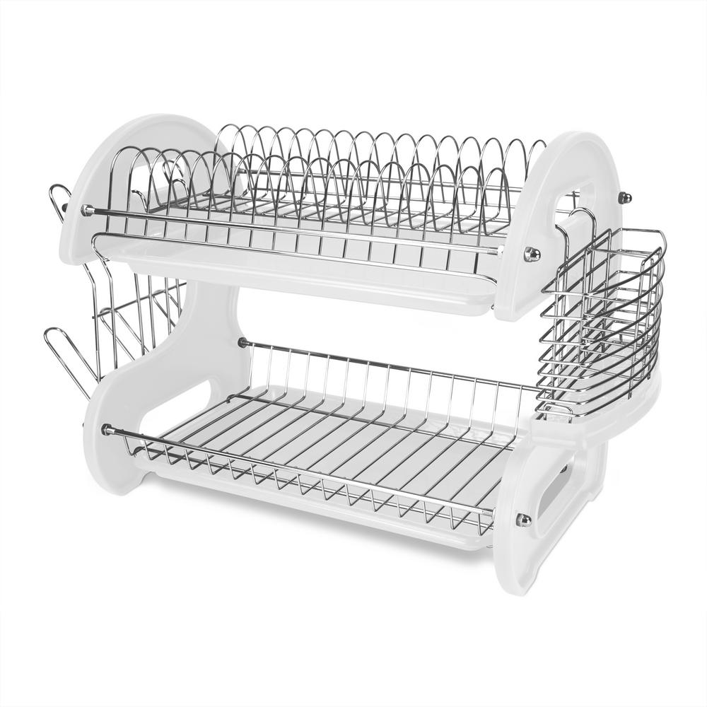 Superieur HOME Basics 2 Tier 17.5 In. X 10.5 In. X 7 In. Plastic Dish Drainer DD10246    The Home Depot