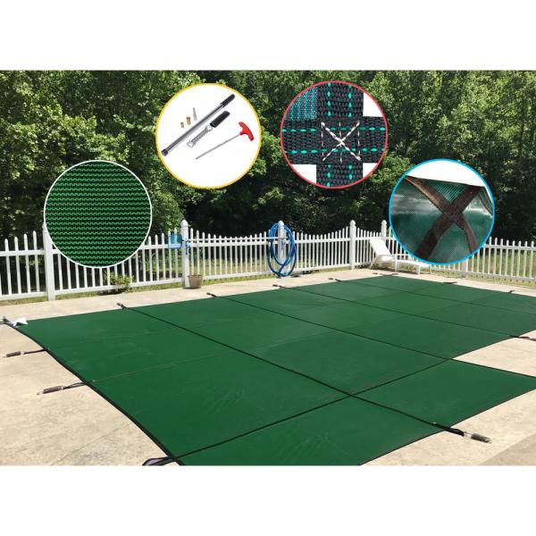 16 ft. x 32 ft. Rectangle Green Mesh In-Ground Safety Pool Cover Left Side Step