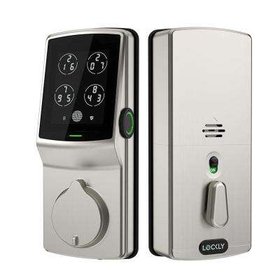 Secure Plus Satin Nickel Single-Cylinder Alarmed Deadbolt Lock with Smart Keypad, Bluetooth and 3D Fingerprint
