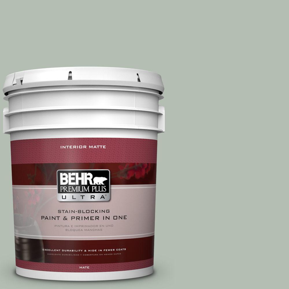 BEHR Premium Plus Ultra 5 gal. #N400-3 Flagstaff Green Matte Interior Paint