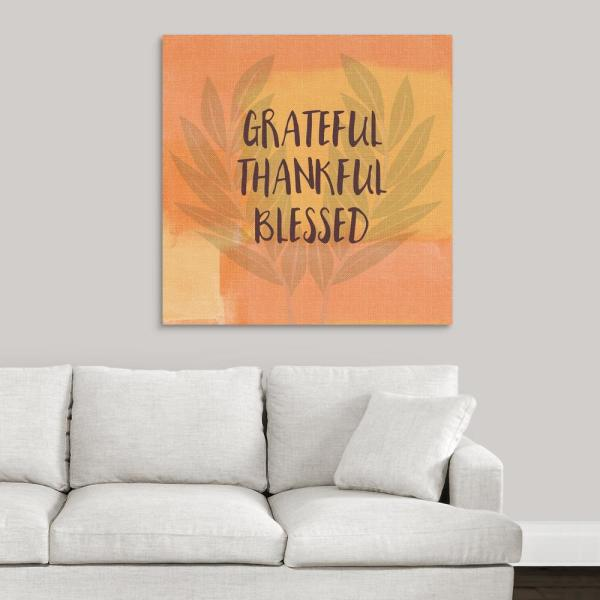 GreatBigCanvas ''Grateful Thankful Blessed'' by Linda Woods Canvas Wall Art
