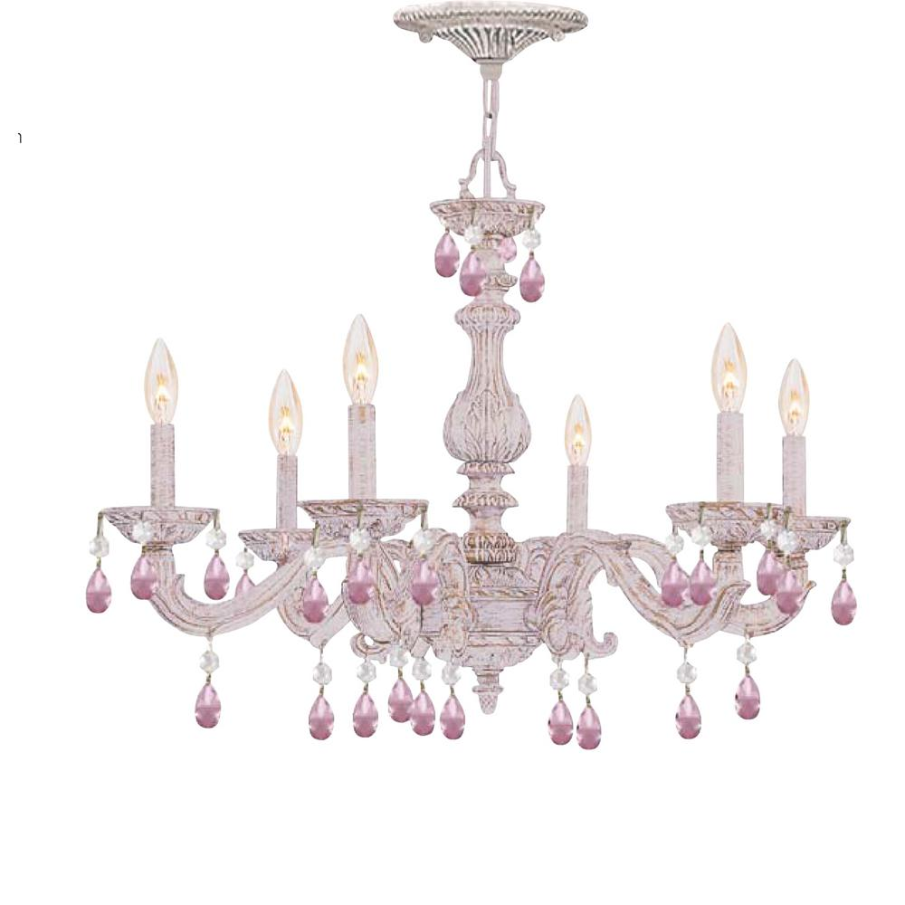 6-Light Antique White Chandelier