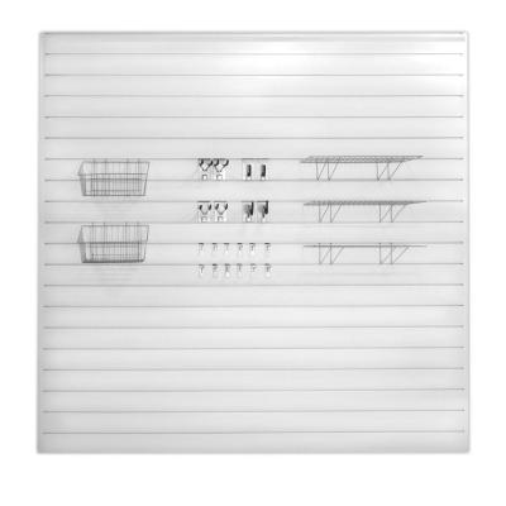 PVC Slatwall 8 ft. x 8 ft. White Ultimate Bundle (45-Piece)