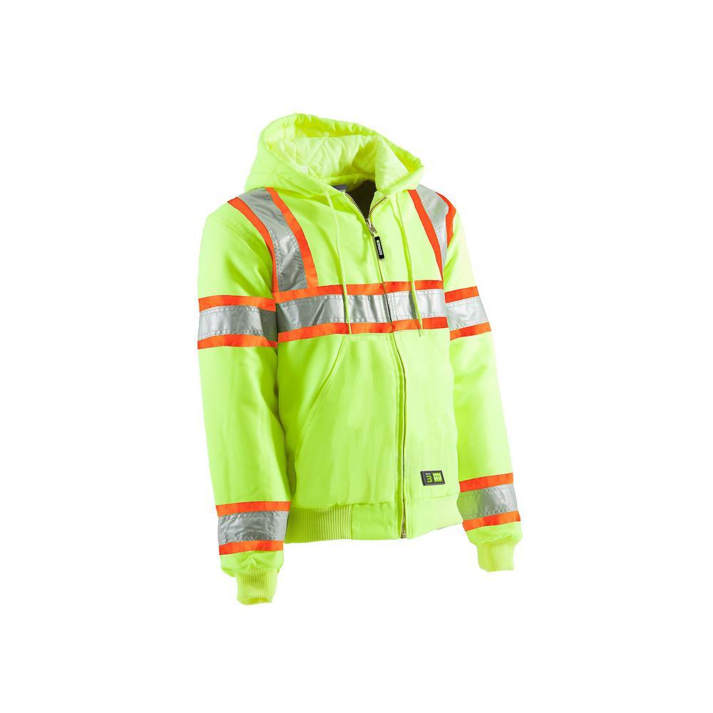 Men's 3 XL Regular Yellow Polyester Hi-Vis Type R Class 3 Hooded Active Jacket