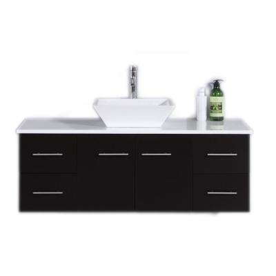 Totti Wave 48 in. W x 21 in. D x 22 in. H Vanity in Espresso with Glassos Vanity Top in White with White Basin
