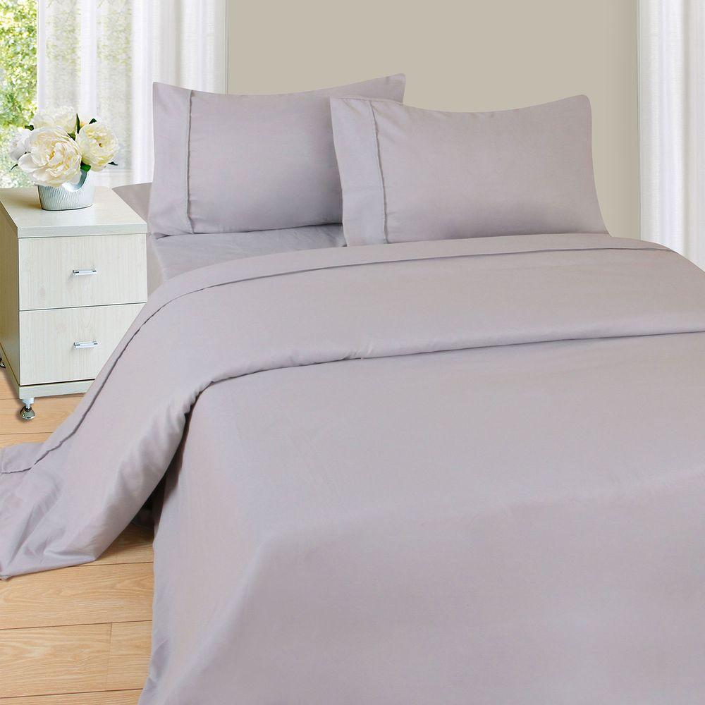Lavish Home 1200 Series 4-Piece Silver 75 GSM King Microfiber Sheet Set