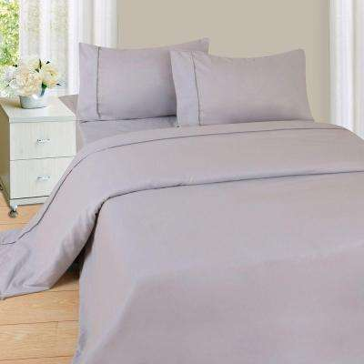 1200 Series 4-Piece Silver 75 GSM Queen Microfiber Sheet Set