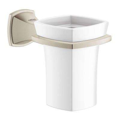 Grandera Ceramic Tumbler with Holder in Brushed Nickel InfinityFinish
