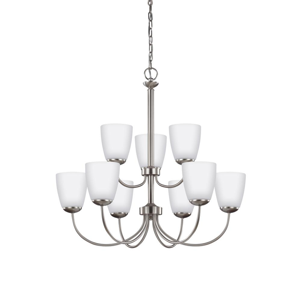 sea gull lighting bannock 9 light brushed nickel chandelier with led