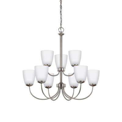 Bannock 9-Light Brushed Nickel Chandelier with LED Bulbs