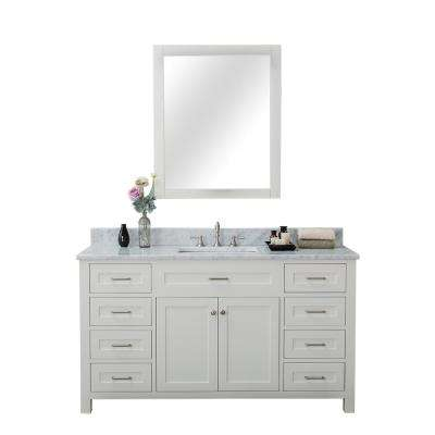 Norwalk 60 in. W x 34.2 in. H x 22 in. D Vanity in White with Marble Vanity Top in White with White Basin