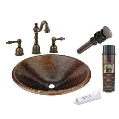 All-in-One Master Bath Oval Self Rimming Hammered Copper Bathroom Sink in Oil Rubbed Bronze