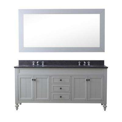 Potenza 72 in. W x 33 in. H Vanity in Earl Grey with Granite Vanity Top in Blue Limestone with White Basin and Mirror