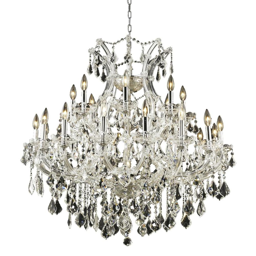 24-Light Chrome Chandelier with Clear Crystal