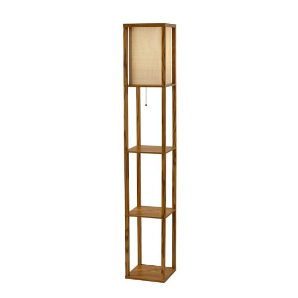Adesso Wright 63 In Natural Wood Veneer Floor Lamp 3138 12 The Home Depot