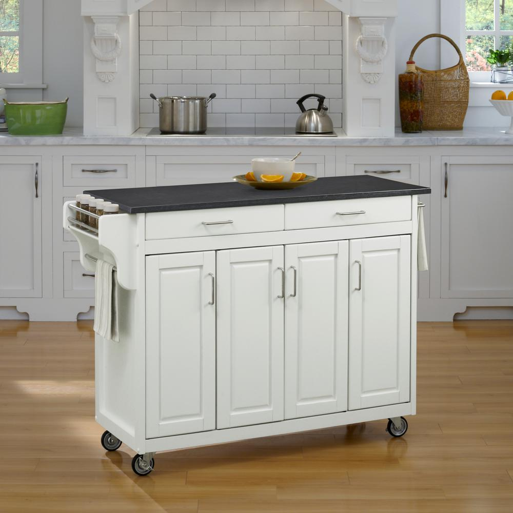 home styles create-a-cart white kitchen cart with quartz