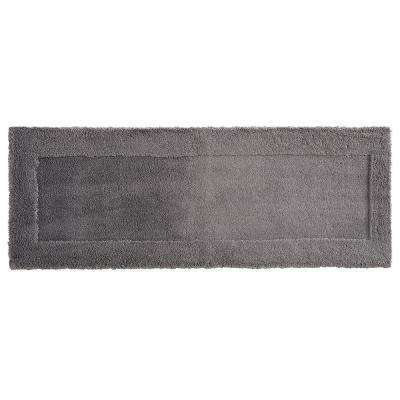 Dynasty 24 in. x 60 in. Micro Denier Polyester Runner Bath Rug in Pewter