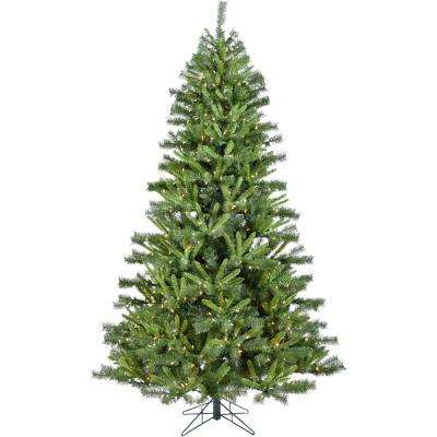 7.5 ft. Norway Pine Artificial Christmas Tree with Clear LED String Lighting
