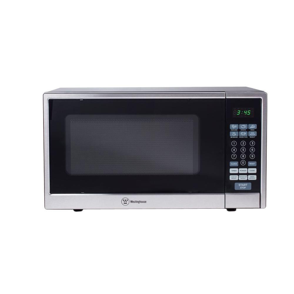 1000 Watt Countertop Microwave In Stainless Steel Front Black