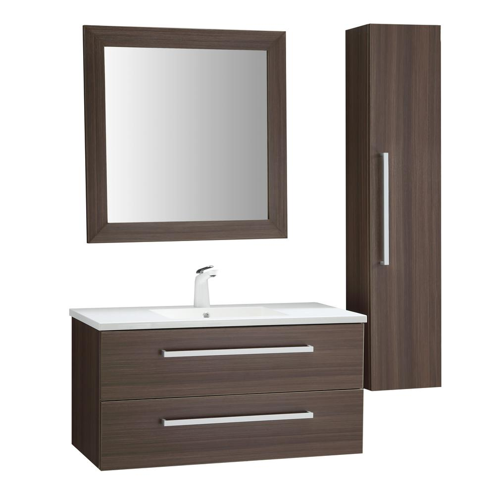 ANZZI Conques 39 in. W x 20 in. H Bath Vanity in Rich Brown with Ceramic Vanity Top in White with White Basin and Mirror