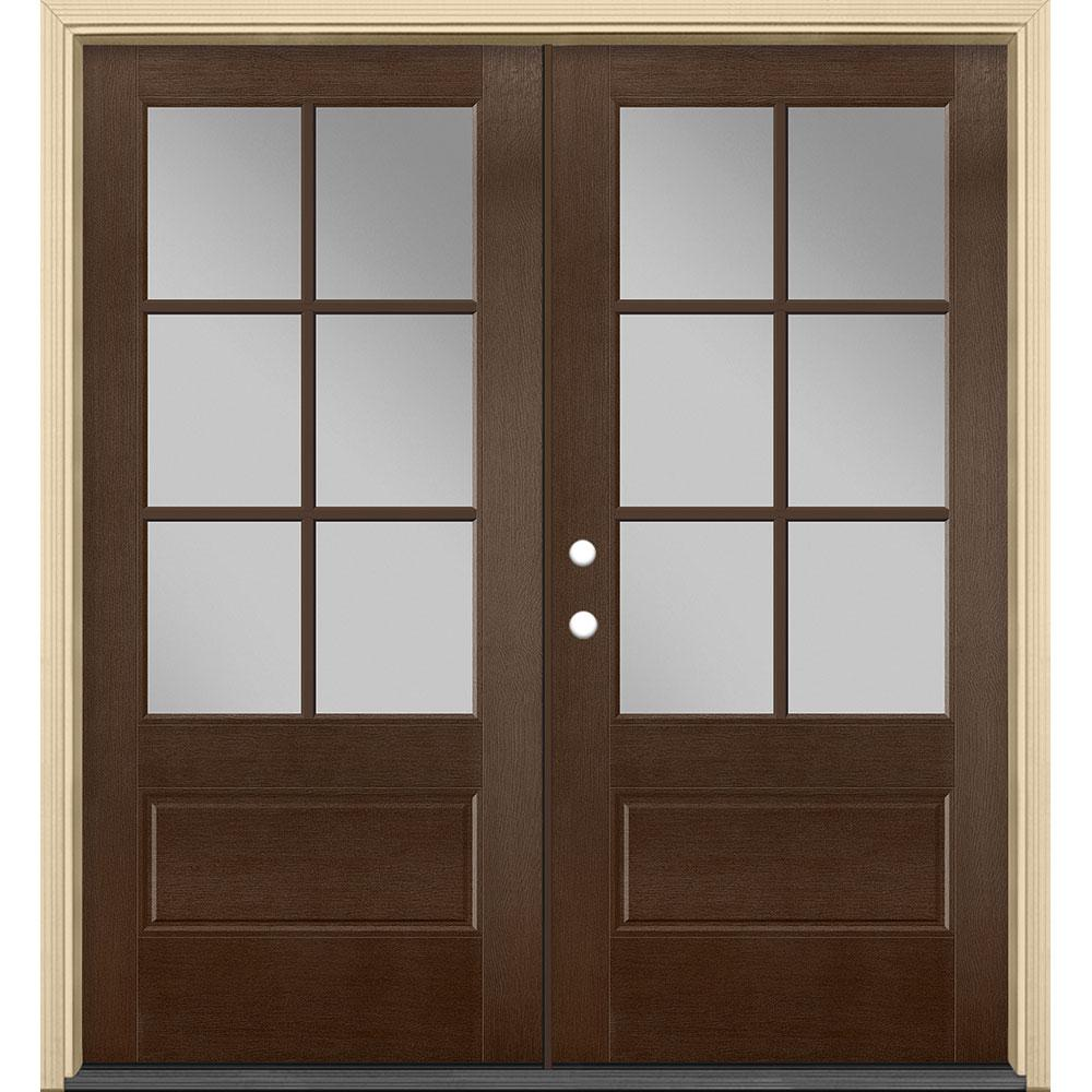 Masonite 72 in. x 80 in. Vista Grande Stained Right-Hand Inswing 6-Lite Clear Glass Fiberglass Prehung Front Door and Vinyl Frame