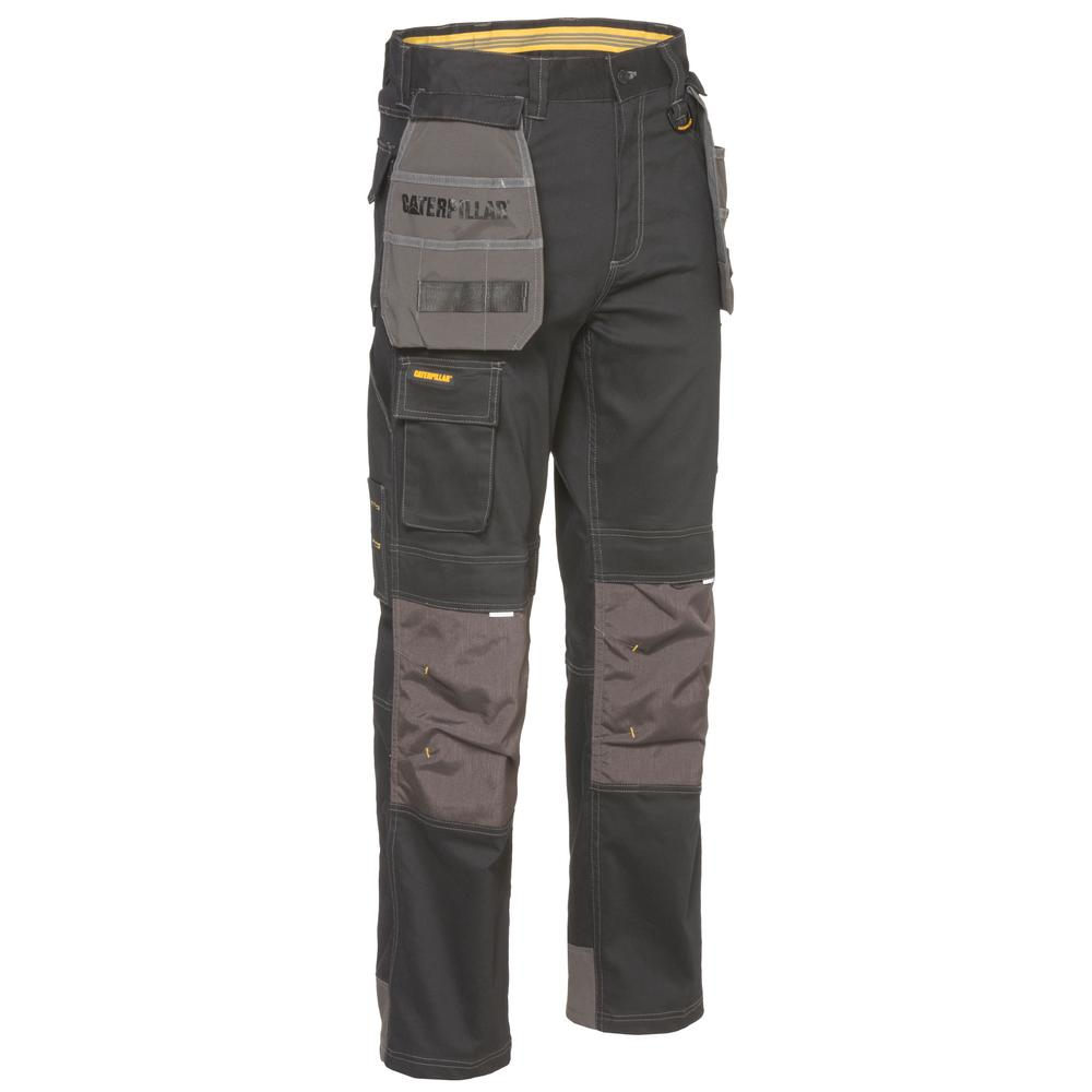 8a078bdf69ad1b L Black/Graphite Cotton/Polyester Water Resistant Stretch Cargo Work Pant-1810008-10109-38/36  - The Home Depot