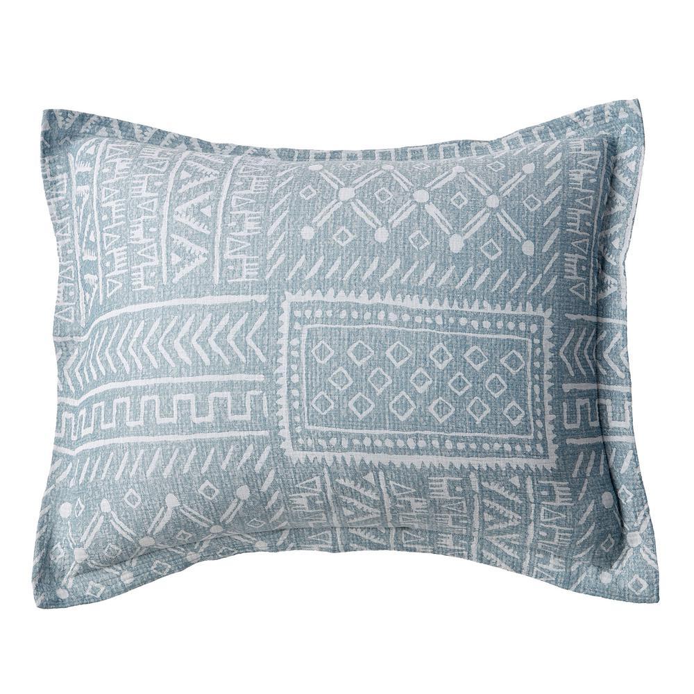 Tribal Patch Blue Multi Geometric Cotton Percale King Sham