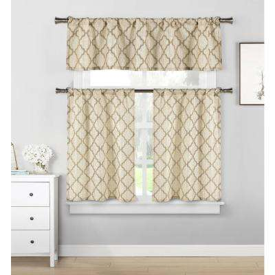 Luke Taupe Kitchen Curtain Set - 58 in. W x 15 in. L in (3-Piece)