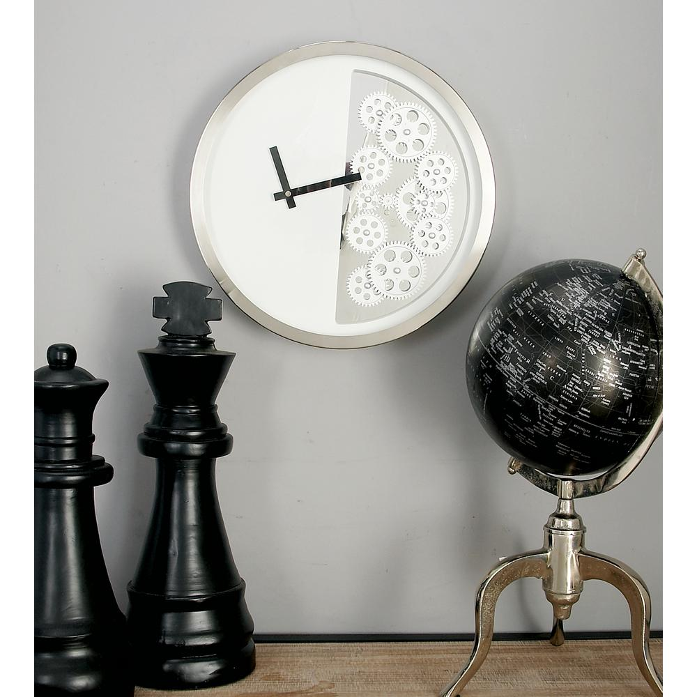 Modern White Clock Part - 40: Null Modern White Half Gear Wall Clock