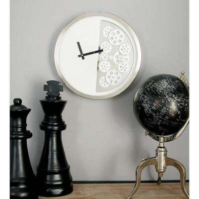 Modern White Half Gear Wall Clock