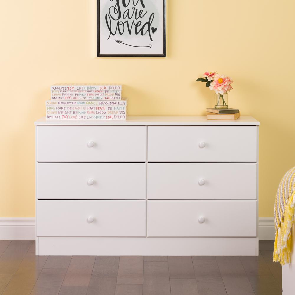 prepac astrid 6 drawer white dresser wdbr 0402 1 the home depot. Black Bedroom Furniture Sets. Home Design Ideas
