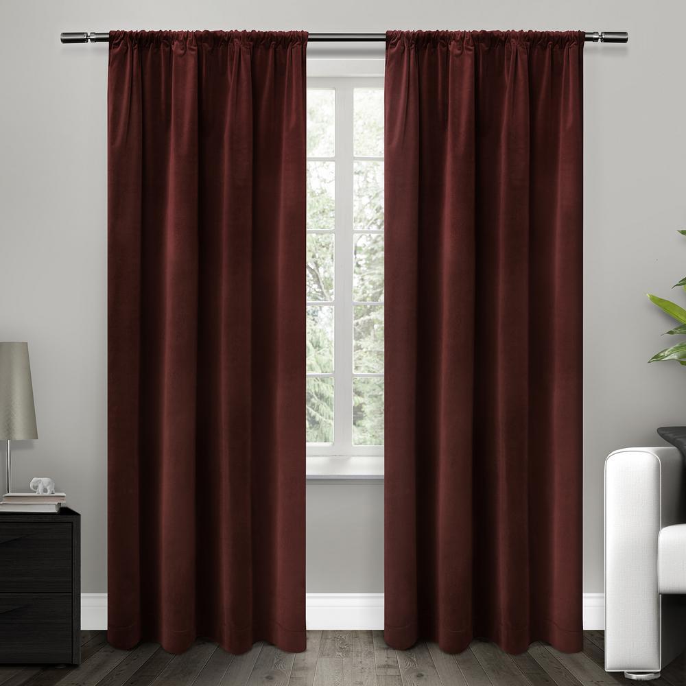 Cotton Velvet Burgundy Blackout Rod Pocket Top Window Curtain